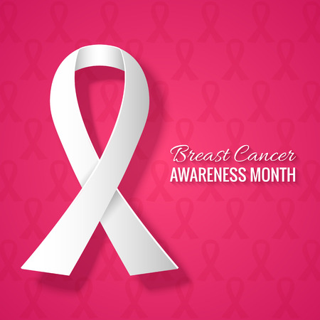 Breast Cancer Awareness Month Pink Background with Ribbon. Vector Illustration for Background, Card, Poster, etc
