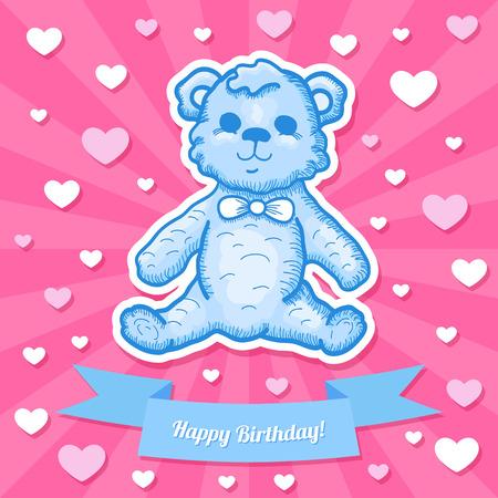 happy birthday baby: Beb� colorido del feliz cumplea�os Tarjeta del dise�o con osito de peluche. Ilustraci�n vectorial Vectores