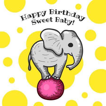 happy birthday baby: Beb� colorido del feliz cumplea�os Tarjeta de Dise�o con peque�o elefante. Ilustraci�n vectorial