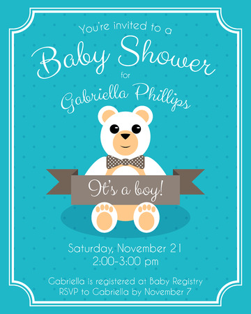 baby boy announcement: Retro Baby Shower Invitation with cute teddy bear. Vector card design