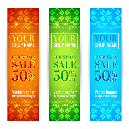 Christmas Sale Banners Set. With traditional norwegian pattern. Colorful Vector Design Template Isolated on White