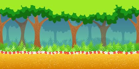2D 게임 응용 프로그램에 대한 산림 게임 배경입니다. 벡터 디자인. 수평 한 tileable. 크기 1024x512. 시차 효과에 대한 준비 일러스트