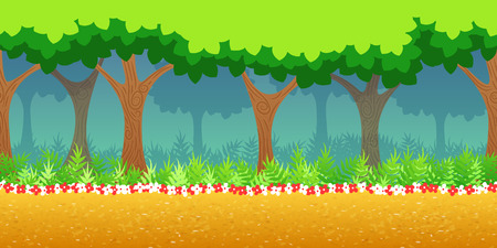 Forest Game Background for 2d game application. Vector design. Tileable horizontally. Size 1024x512. Ready for parallax effect
