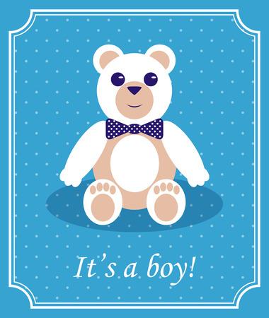 baby bear: Baby Boy Arrival Card with Bear. Vector Retro Design Illustration