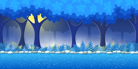 horizontally: Night Forest Game Background for 2d game application. Vector design. Tileable horizontally. Size 1024x512. Ready for parallax effect