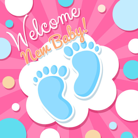 welcome party: Welcome Baby Card. Pink cute vector illustration with baby sole