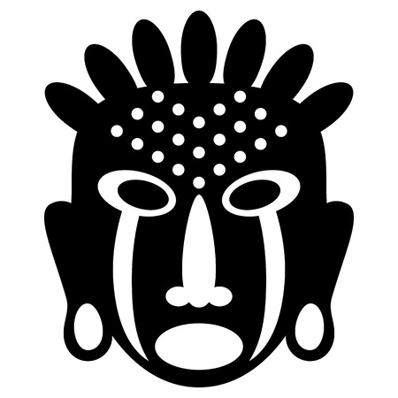 cult tradition: African Masks Isolated on White. Vector icons for tribal designs Illustration