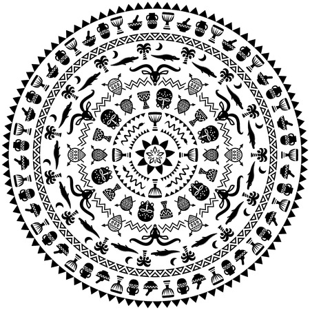 cult tradition: Round ornament with animals, vases, drums. African tribal theme. Vector design