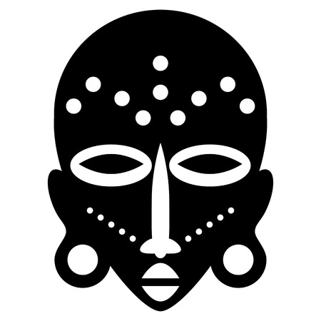 African Masks Isolated on White. Vector icons for tribal designs Vector