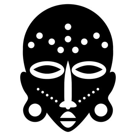 Maschere africane isolato su bianco. Icone di vettore per i disegni tribali Archivio Fotografico - 35701798