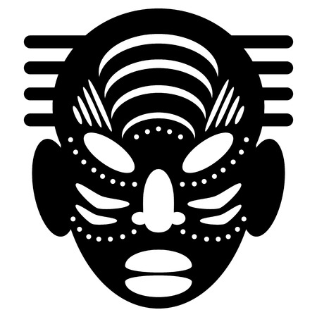 cult: African Masks Isolated on White. Vector icons for tribal designs Illustration