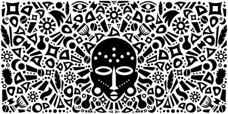 African Abstract Art Tribal Concept Illustration with mask and decorative elements. Vector design