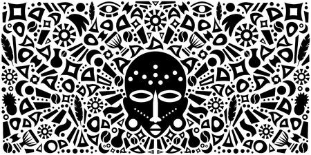 arte africano: Africano arte abstracto Ilustraci�n Concepto tribal con m�scara y elementos decorativos. Dise�o vectorial Vectores