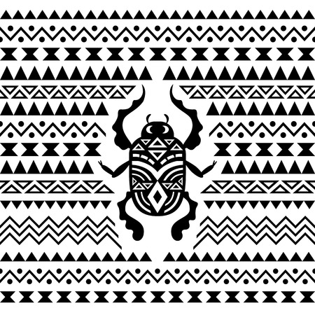 cult: Abstract Tribal Ornamental Background. Vector illustration with Scarab Illustration