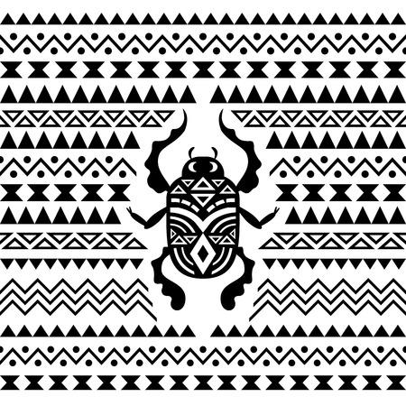 scarabeo: Astratta tribale Sfondo ornamentale. Illustrazione vettoriale con Scarab