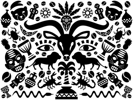 Abstract African Tribal Ornamental Background with animals, vases, drums and decorative elements. Vector illustration