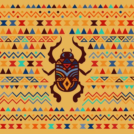 cult tradition: Abstract Tribal Ornamental Background. Colored vector illustration with Scarab