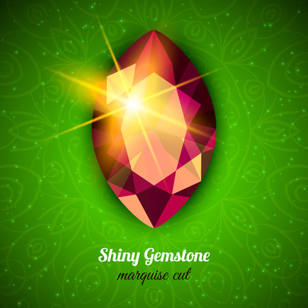 marquise: Shiny Gemstone Marquise Cut on dark background. Vector illustration
