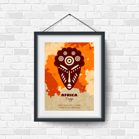 construction paper art: African Mask. Picture in a Black Frame on Brick Wall. Vector illustration