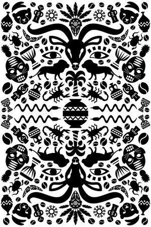 african drums: Abstract African Tribal Ornamental Background with animals, vases, drums and decorative elements. Vector illustration