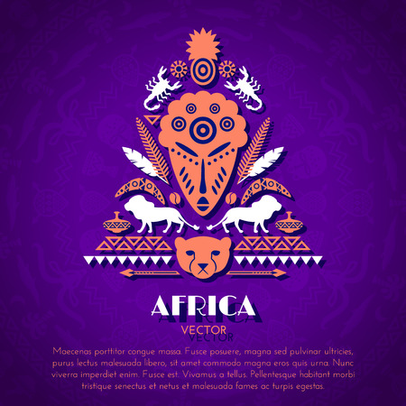 paper mask: African Tribal Ethnic Art Background with Mask. Vector ornament