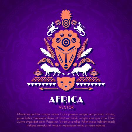 arte africano: Africana tribal �tnico arte de fondo con la m�scara. Ornamento del vector Vectores