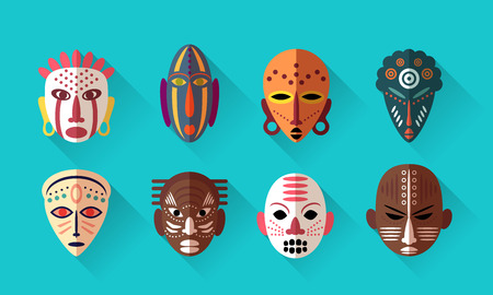 African Mask Icons. Flat Design with long shadows