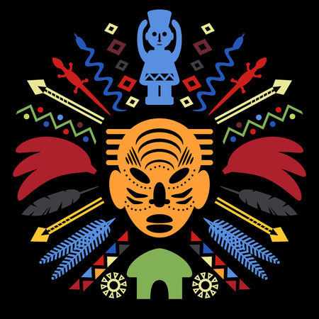 cult: African Abstract Art Tribal Concept Illustration with mask, animals and decorative elements. Vector design