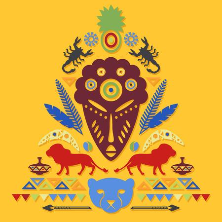 Résumé africaine Tribal Art Concept Illustration avec un masque, des animaux et des éléments décoratifs. Vector design Banque d'images - 36270096