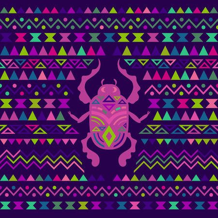 cult: Abstract Tribal Ornamental Background. Colored vector illustration with Scarab