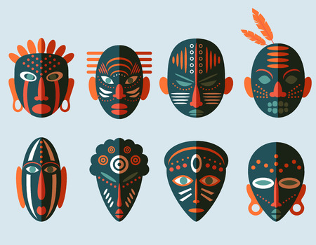 masks: African Mask Icons. Flat Design. Tribal ritual symbols