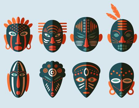 Iconos máscara africana. Diseño plano. Símbolos rituales tribales