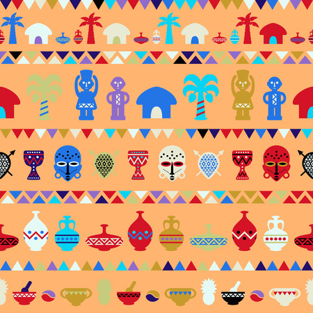 djembe: African Tribal Pattern Ethnic ornament. Seamless vector background Illustration