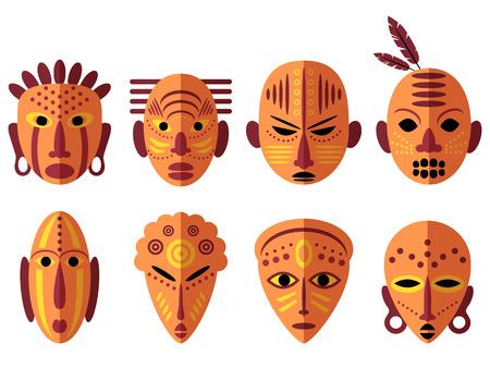 aborigine: African Mask Icons. Flat Design. Tribal ritual symbols