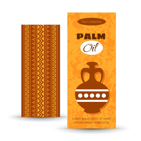 palm oil: African Tribal Art Banners for advertising of Palm Oil. Ornamental Vector Design Illustration