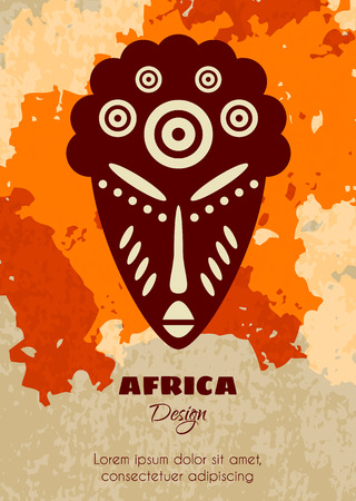 African Tribal Mask. Vector Grunge Textured Poster