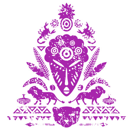 cult tradition: African Abstract Art Tribal Concept with mask, animals and decorative elements. Vector textured illustration
