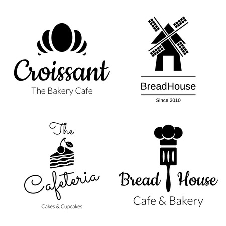 pastry chef: Black bakery logo set. Croissant, Cake, Mill Elements. Vector design Illustration