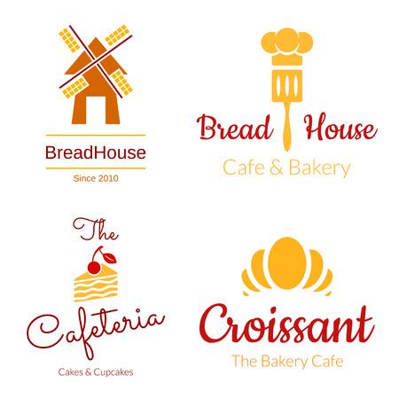 Bakery logo set. Croissant, Cake, Mill Elements. Vector design