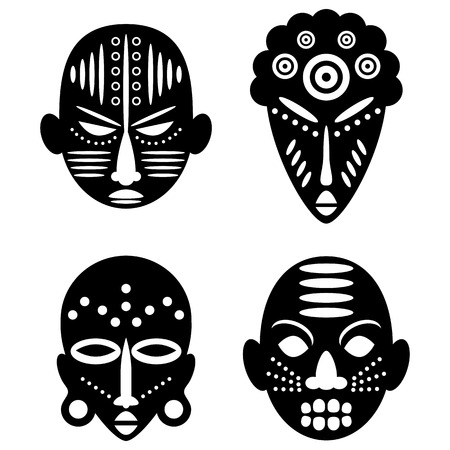 African Masks Isolated on White. Vector icons for tribal designs Stock Illustratie