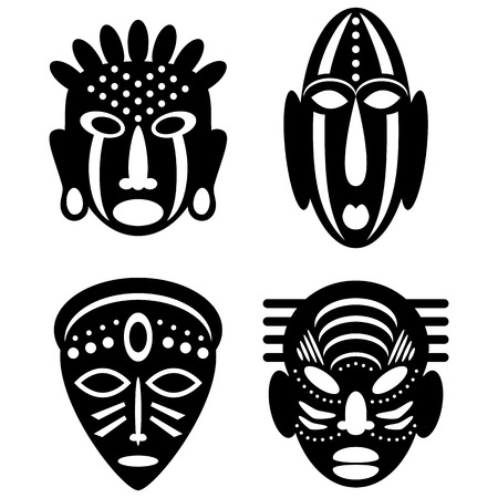 African Masks Isolated on White. Vector icons for tribal designs Ilustrace