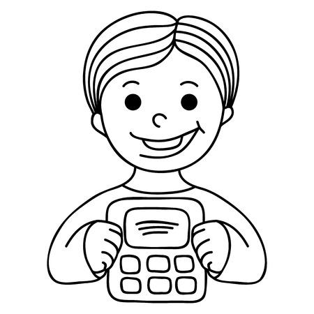 catroon: Smiling Boy With Calculator. Catroon hand-drawn illustration isolated on white