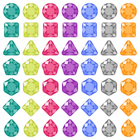 pear shaped: Precious gems Flat icons set. Square, round, pear shaped gemstones. Vector elements isolated on white