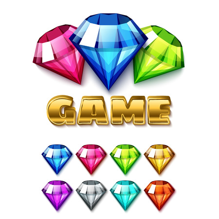jewel: Cartoon Diamond Shaped Gem Icons Set with gold lettering Game. Isolated on white background vector elements Illustration