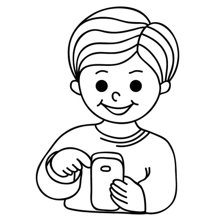 texting: Smiling boy texting with cellular phone. Cartoon hand-drawn illustration Illustration