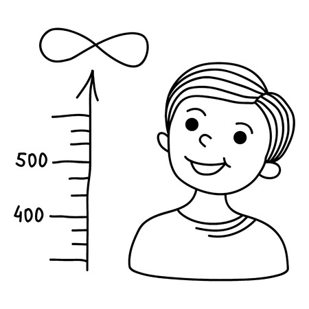 scale up: Boy looks at a scale showing the increase in value. Cartoon hand-drawn illustration
