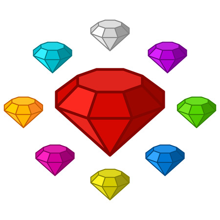 emerald stone: Cartoon diamonds icons set in different colors. Vector gems on white background Illustration