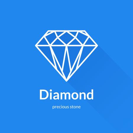 Gefacetteerde diamant vorm pictogram element. Trendy platte design. Geometrische vector dunne lijn icoon met lange schaduw