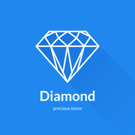 Faceted diamond shape icon element. Trendy flat design. Geometric vector thin line icon with long shadow