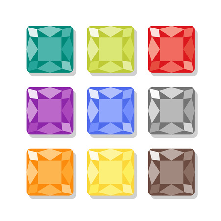 Cartoon square gems icons set in different colors. Vector jewels on white background Vector